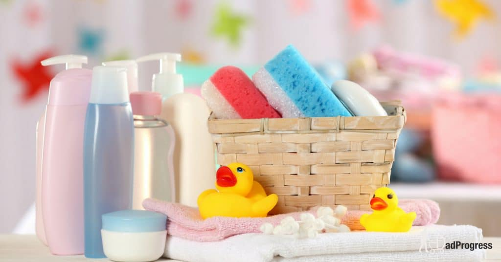 Bath essentials (including shampoos) on a table