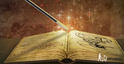 Wizard's Book And A Magic Wand