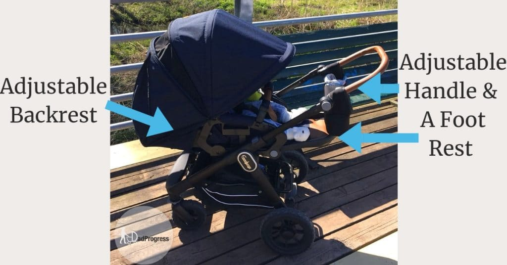 Adjustable Backrest, Foot Rest & Handle Of A Stroller