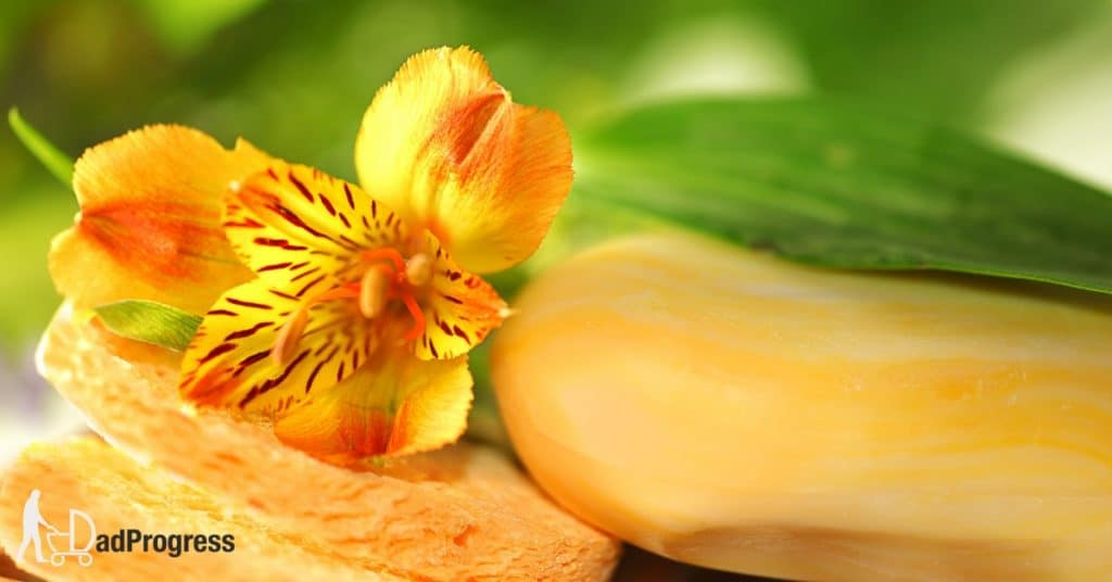 Orange soap and a flower