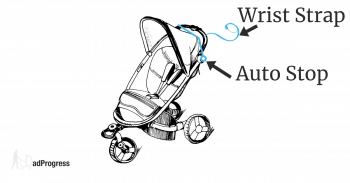 Stroller Auto Stop And Wrist Strap