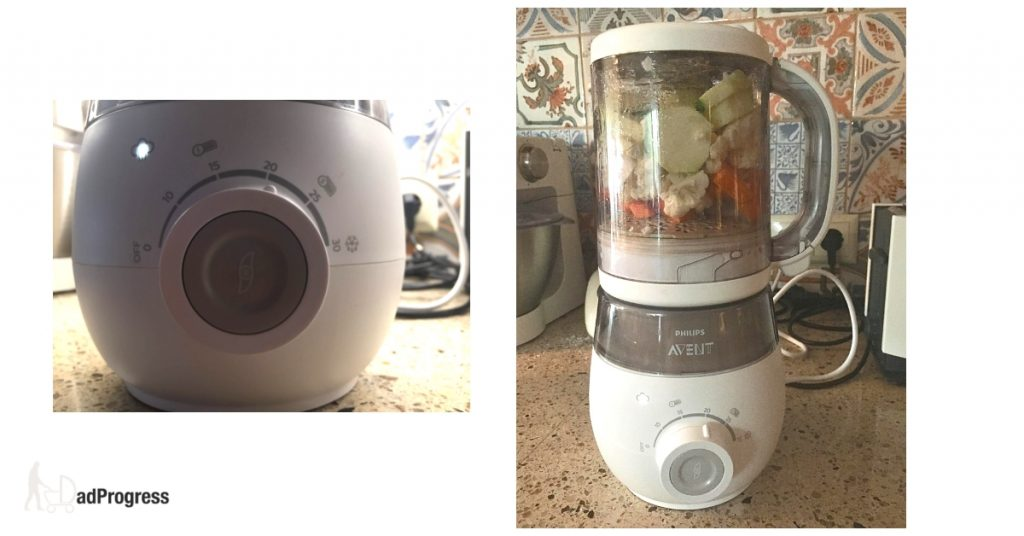 On the left a button of the Avent that you can turn and on the roght the food maker that has veggies in it.