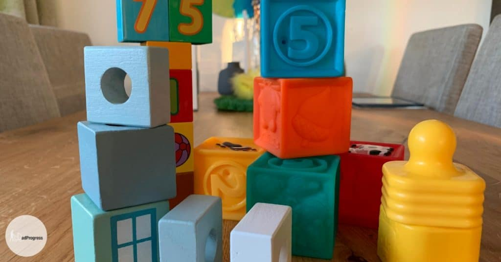 Colourful blocks for toddlers and babies on the table