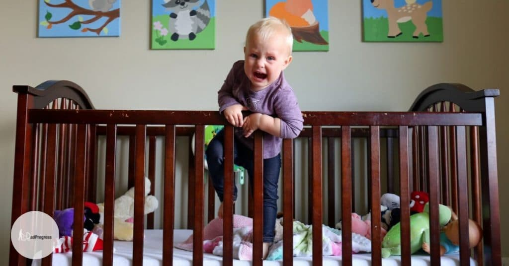 Toddler escaping from a crib