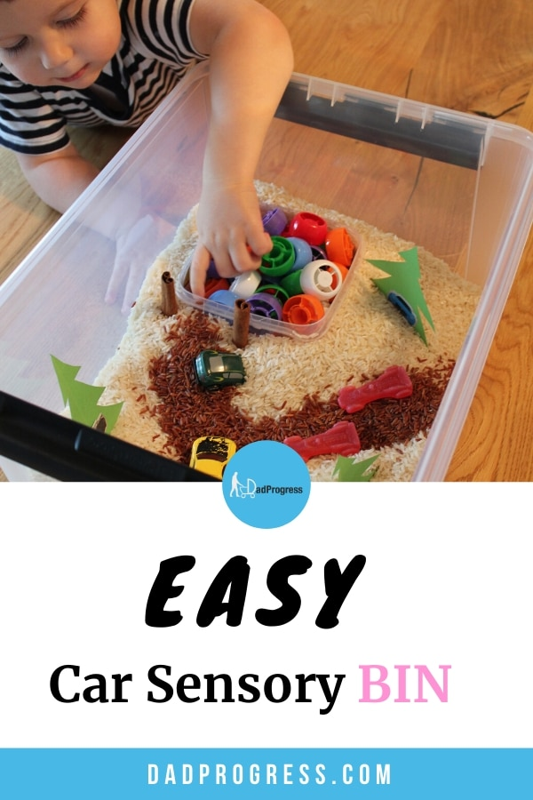 Car sensory bin a great activity for toddlers. So if you need sensory bin ideas, then click to see this easy car to make bin and read about cleaning the mess afterwards