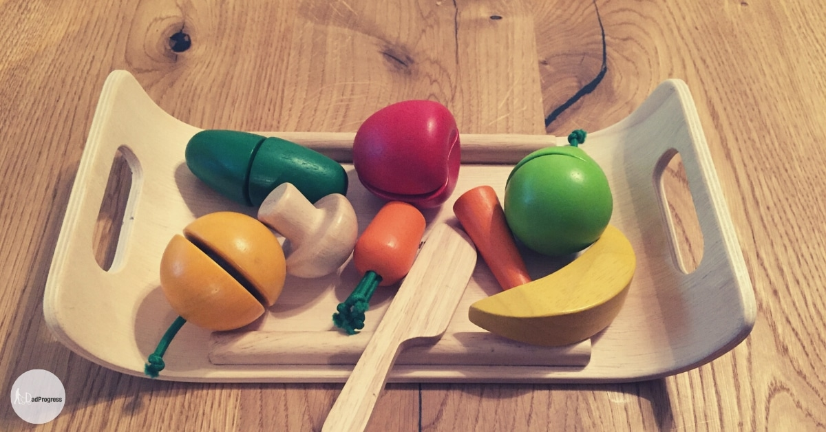 Play food (fruits and vegetables) made of wood