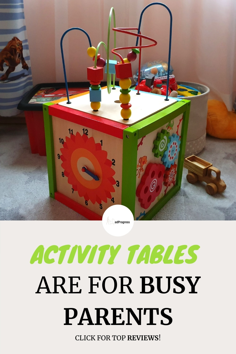 Activity table (for a baby, toddlers, or older kids) is a great learning toy, and it will free up some of your time as kids are so engaged by it. I wrote a post about the best options out there. Click on the link if you wish to learn more!