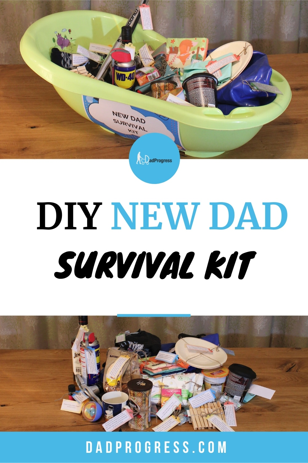 Surprise the daddy to be with a DIY new dad survival kit! Click to see a list of most popular items and many examples so you can start building your own! As a bonus, the free printable will save you many hours