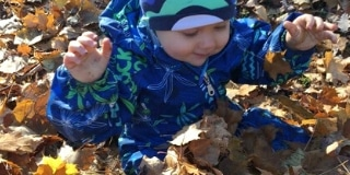 Toddler sitting in leaves