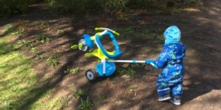 Toddler pushing (not riding) a trike