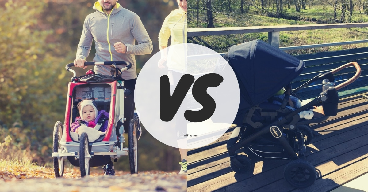 Jogging Stroller vs Regular Stroller- these two stroller types in the picture