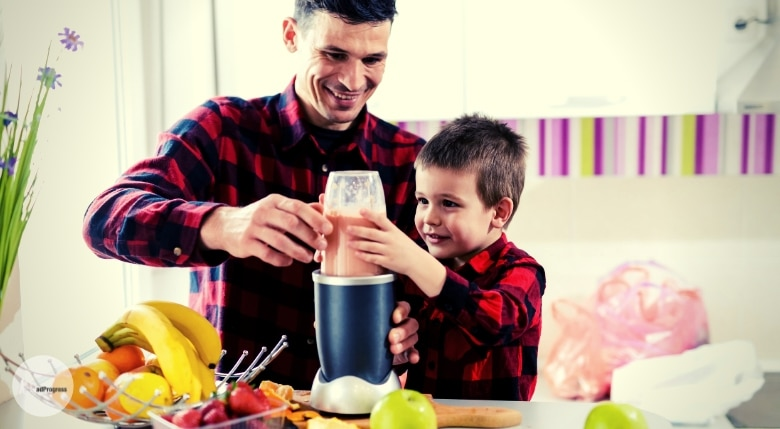 Dad and son using Best Baby Food Maker