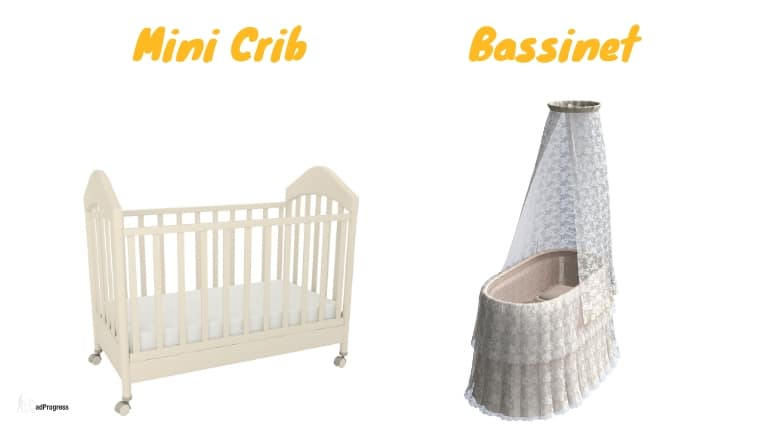 Mini crib and a beautiful bassinet