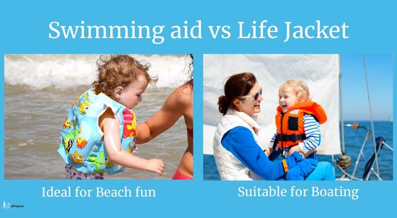 Swimming aid vs life jacket (first is ideal for beach fun and second suitable for boating): Two pictures: Picture of a toddler with a swimming aid on the left and mommy with a toddler wearing a life jacket on a boat on the right