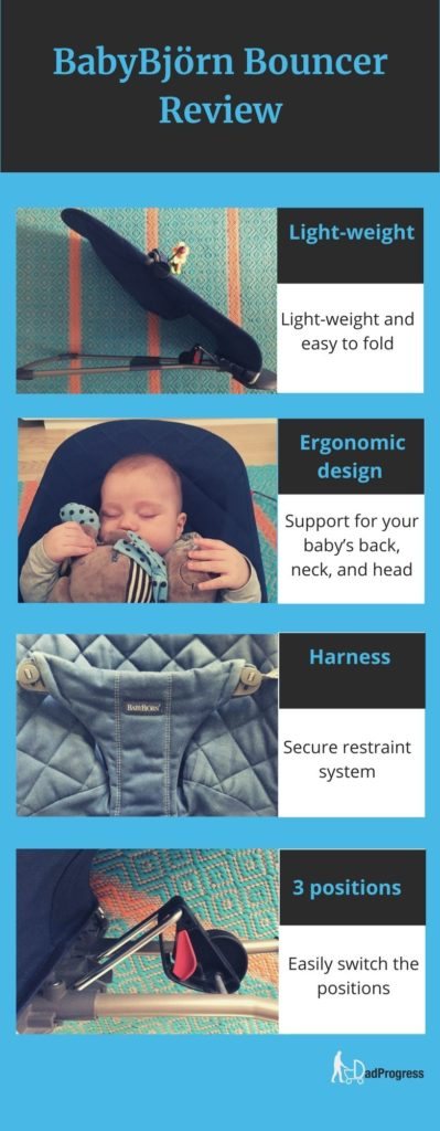 BabyBjörn Bouncer Most Important Features: four images and four texts next to the pictures: Light-weight, Ergonomic design, Harness, 3 positions