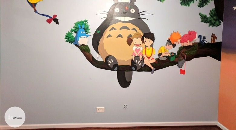 Many different characters from a cartoon painted on the wall